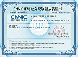 蓝队云CNNIC IP地址联盟成员单位证书