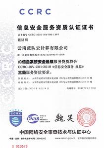信息系统安全运维资质证书